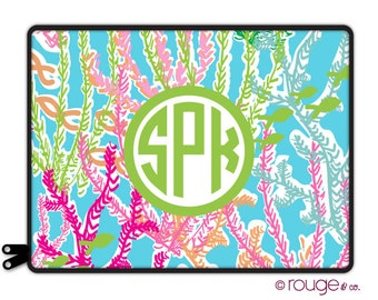 """UNDER THE SEA personalize laptop sleeve 13"""" or 15"""" - with monogram - elastic tabs give you the option to keep the sleeve on while you work"""