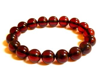 Baltic Amber Cherry Ball Beads Bracelet Natural 11 mm 12.9 gram