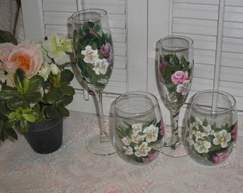 Hand Painted HP Water Wine Glasses Goblets Lot 4