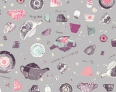 Gray Tea Pot Cup Fabric Wonderland Pret Tea State by Art Gallery, 1 yard