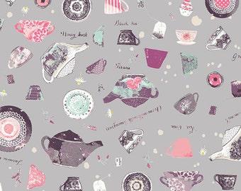 Gray Tea Pot Cup Fabric Wonderland Pret Tea State by Art Gallery, 1 yard