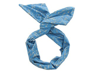 Twist Hair Scarf - Screen-printed Wire Headband - Gold Leaves on Royal Blue