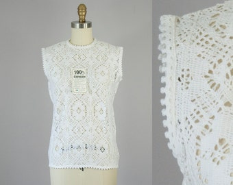 1960s Vintage White Knit Lace Sleeveless Blouse. Deadstock (S, XS)