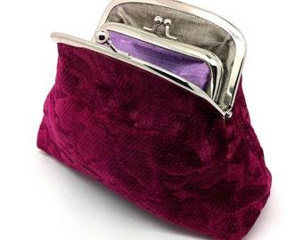 Raspberry Velvet Kiss Lock Coin Purse Wallet Clutch Gift Grey Silk Silver Metal Double Frame