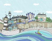 New for 2016 - Sights of Seaham art print - memories of sea glass hunting - P&P inclusive -From Seaham England