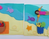Double Page: Sea Time- Quiet Book Page / Quiet Activity Book / Birthday Gift For Toddler / Soft Activity Book / Quiet Book Felt / Busy Book