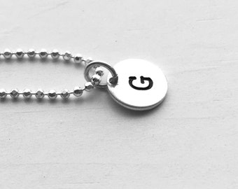Initial Necklace, Sterling Silver, Personalized Jewelry, All Letters Available, Hand Stamped Jewelry, Letter G Necklace, Initial Charm