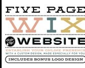 5 Page CUSTOM WIX WEBSITE Design Package - Includes PreDesigned Logo - Five Page Website Design Package - Custom Wix WebDesign Package