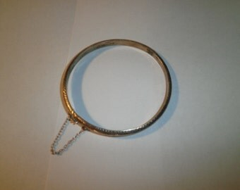 Vintage Bracelet, 925 Sterling Carved Bango Bracelet, circa 1960's
