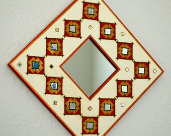 Fractal Mirrors - Painted Wooden Frame Mirrors with inlaid mirror work.