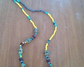 Extra Long beaded necklace- paper and glass yellow/ silver/ multicolored