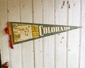 Vintage Colorado Souvenir Pennant - Mid-Century 1950s - Colorado Map - Travel Souvenir - Roadtrip Souvenir
