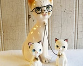 Vintage Mother Cat with Two Kittens Figurine Set - Kitty Vanity Set - Chained Together - Mid-Century 1950s - Anthropomorphic Cat in Glasses