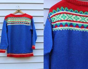 Vintage Vtg Vg 1970's 70's Hand Knit Scandinavian Style Wool Blend Sweater Nordic Ski Lodge Hipster Rustic Women's Medium Large Retro