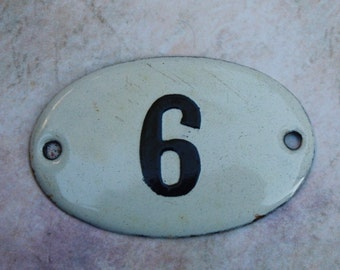 Enameled Number Tag European House Number 6 or 9