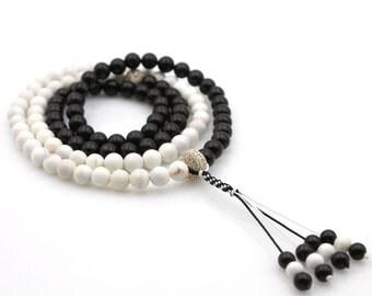 108 6mm x 6mm Stone Meditation Yoga Tibetan Buddhist Prayer Beads Mala  N108-ZQ005