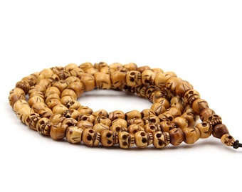 Tibetan Buddhist 108 10mm x 9mm Ox Bone Skull Prayer Beads Mala Necklace  ZZ398