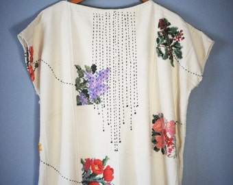 Huipil Tunic Dress with Embroidery/Upcycled Clothing/ Vintage Tablecloth/Embroidered Tunic