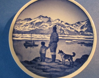 Pair of Kai Lange Miniature Plates - 2010 Series - No 20 Little Belt Bridge and 43 On the Lookout for Father in Greenland