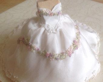 Beautiful handmade 1/12 th scale dollhouse hand embroidered wedding dress