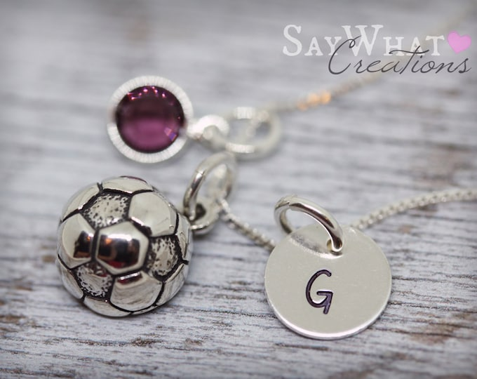 Sterling Silver Mini Initial Charm Necklace with Soccer Ball Charm and birthstone