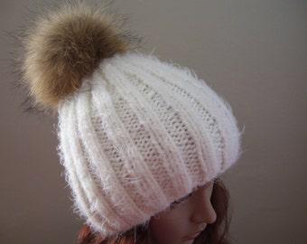 Rib knit, fur pom hat