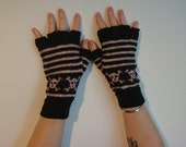 Half finger black gloves with pink stripes and band of skulls, adult size extra small/small