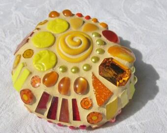 Summer Solstice Mosaic Stone, yellow