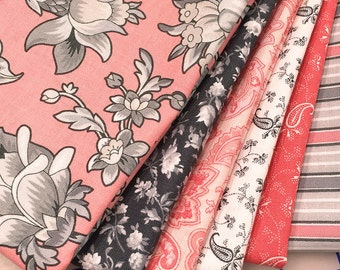 GRACIOUS SKIES ~ 6 Quilt Fabric Fat Quarters  - Faye Burgos for Marcus Brothers - coral, grey, grays