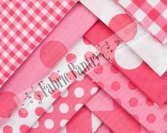 12 Riley Blake Basic Variety Quilt Fabric Fat Quarter Bundles ~ Hot Pink, Aqua, Gray, Yellow ~ Dots - Chevrons -Gingham