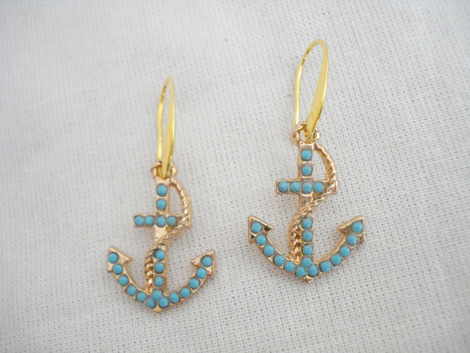 turquoise gold anchor earrings anchor charm dangles nautical