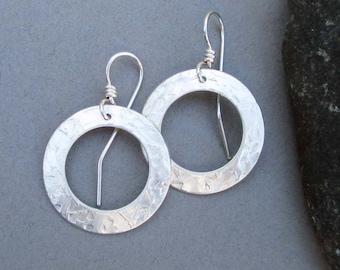 Sterling Silver Hoop Earrings Hammered Textured Metal Round Dangle Earrings Artisan Handmade Jewelry Classic Everyday Jewelry