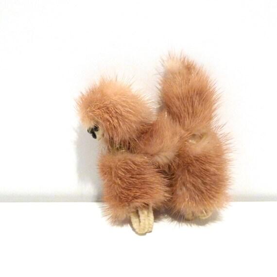 Dog Pin Vintage Mink Poodle Brooch Real Mink Fur Animal Pin