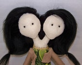 Two-headed felt doll, conjoined, freakshow doll, hand-made, hand-sewn, kawaii, odd, strange