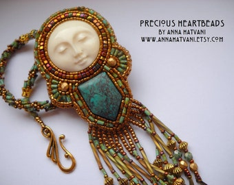 Bead Embroidery  Kit (limited edition) - Turquoise Azurite Carved Bone Bead Embroidery Necklace Kit The Wind