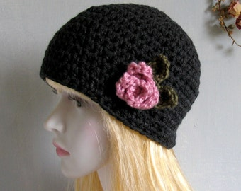 Crochet Beret Womens Hat Slouchy Beret Charcoal Gray Black Flower Winter Hat Birthday Gifts for Her Girls Teens Charcoal Skull Hat
