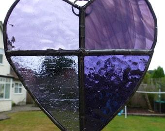 Purple Stained Glass Heart Light Catcher Sun Catcher