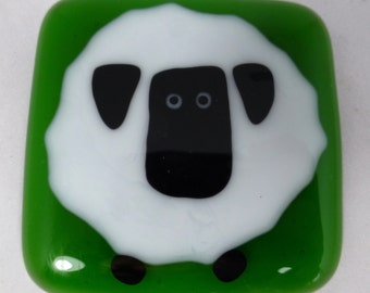 Fused Glass Fridge Magnet with Big Fat Sheep