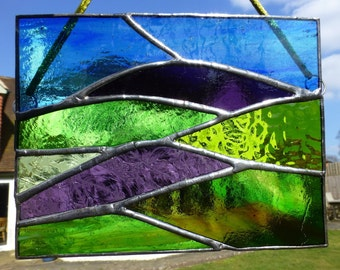 Stained Glass Mountains, Moorland and Heather Light Catcher
