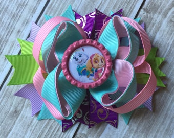 Paw Patrol Hair Bow, Layered Paw Patrol Bow, Skye and Everest Hair Bow, Paw Patrol Inspired Bow, Paw Patrol Birthday Bow