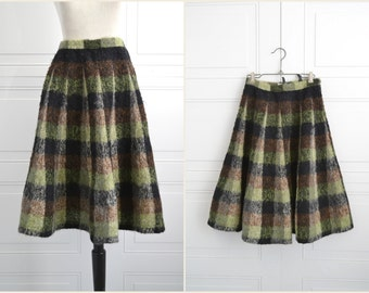 1950s Styro Holeproof Plaid Wool Boucle Skirt