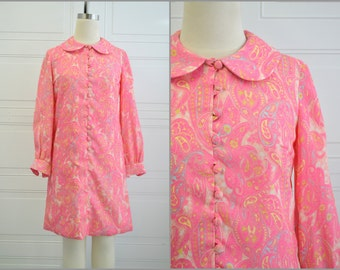 1960s Pink Paisley Mini Dress
