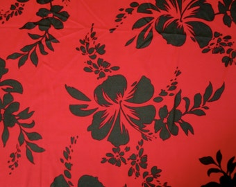 Lycra Fabric Red and Black Hawaiian Hibiscus Floral Print Lycra Swimwear Dance Wear Fabric Crafts Sewing Y6