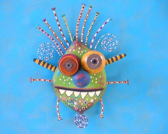 Johnny Monster, Original Found Object Wall Sculpture, Wood Carving, Wall Decor, Painted Sculpture, by Fig Jam Studio