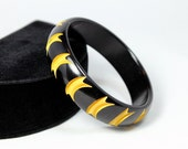 RESERVED for Evelyn until 10/8 - Bakelite Bangle, Resin Washed and Cutback - Black over Yellow