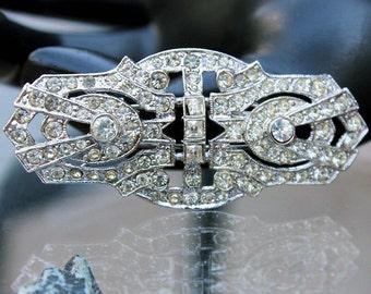 Fabulous Rhinestone Barrette or Scarf Clip, Art Deco Style, by Kenneth Lane