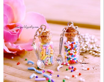 Candy Sprinkle Bottle Necklace , Sweet Sprinkle And Clap Sprinkles , Glass Vial .05ml , 1ml or 2ml Bottle Necklace By: Tranquilityy