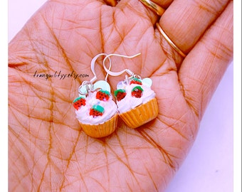 Cupcake Earrings , Little Cupcake Earrings ,  Child's , Teens ,Girls, Vanilla Frosting Strawberrys Kawaii, Handmade By: Tranquilityy