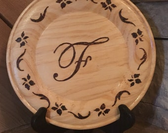 Wood burned initial F plate; monogram F plate; letter F sign