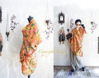 Flowers Blouse, Silk Blouse, Asymmetric Top, Draped Top, Silk Tunic, Flowers Tunic, Draped Tunic, Flowers Top, Summer Tunic, Boho Tunic